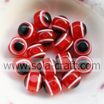 Hot Sale Red Charm 10MM Size Cat's Eye Resin Opal Pendants Round Gemstone Beads Fit Bracelet