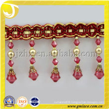 acrylic beads cuentas fleco embroidery fringes curtain manufacture