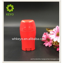 50g Hot sale high quality red colored empty cosmetic packing deodorant stick container