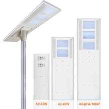 Встроен в один уличный светильник с солнечной батареей