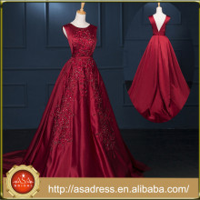 RASA-07 Generous Rose Red Stain Formal Party Gown Cut V-Back Hand Made Embroidered Lace Alibaba Evening Dress