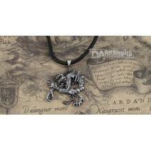 Aleación de metal color plata cadena de cuero moda masculina collar moda gótica.
