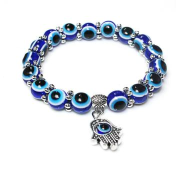 New Fashion Women Acrylic Blue Eye Beads Charms Hand Evil Eye Bracelets