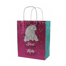 Custom logo printed tote shopping plain twist handle paper bag