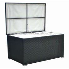 PE rattan storage chest with cushion
