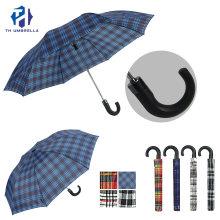 2 Folding Auto Open Promotion Umbrella with Grid Prints Design Umbrellas