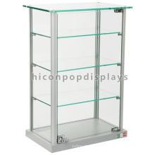 Abschließbare Gegenspitze Glas Spielzeug Display 4-Schicht Schmuck Display Showcase Design