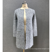suéter cardigan gris mujer