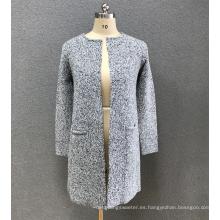 suéter cardigan gris mujer