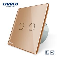 Livolo Стандарт ЕС 2 банды 2-сторонняя сенсорный настенный выключатель освещения Беспроводной RF Дистанционные электрические выключатели VL-C702SR-13