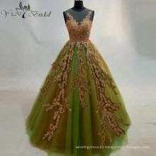 2016 Green Back See Through Wedding Dress Ball Gown Bridemaid Dresses Golden Appliques Dress