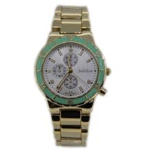 Gold Plating Green Top Ring Lady Quartz Watch