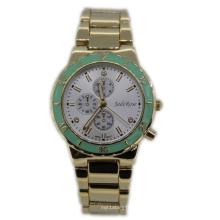 Золотое Покрытие Зеленая Верхнее Кольцо Дамы Кварцевые Часы
