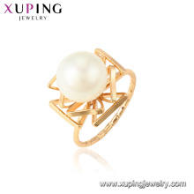 15435 xuping newest trending item precious freshwater pearl 18k gold ring women jewelry