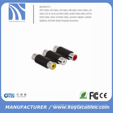 3RCA to 3RCA adapter 3 Way Female to Female F to F RCA AV Coupler Cable Adapter