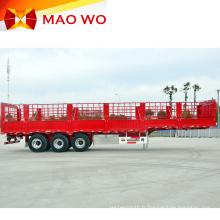 Semi-remorque de cargaison de clôture animale de 60 tonnes à trois essieux