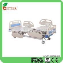 Manual de 3 funções Cama hospitalar com cama hospitalar PP para trilhos laterais para pacientes paralisados