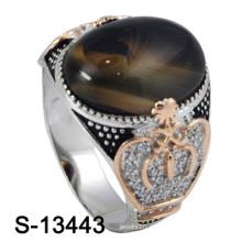 Nuevo y agradable micro ajuste hombres de plata anillo con piedra de ágata (s-13443)