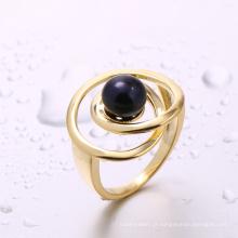 fabricante de china resultados da jóia preto anel de pérola anel de ouro para a menina