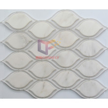 Oval Shape Water Jet Cuted White Crystal Mix Marble Mosaic (CFW69)