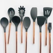 Conjunto de utensílios de cozinha de silicone de aço inoxidável de 9 peças
