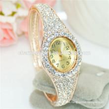 Elegante señoras moda personalizada Rhinestone digital brazalete reloj B085