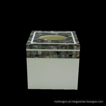 Caixa de tecido de concha Caixa de tecido preto de madrepérola shell quadrado