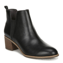High Quality Black Ladies Trendy Ankle Boots Formal Heel Leather Boots Rubber Boots Waterproof Shoes for Women