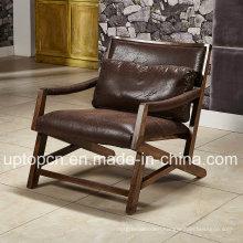 Leisure Dark Brown Wooden Restaurant Furniture Chair with Armrest (SP-EC849)