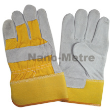 """NMSAFETY 10.5""""AB grade 190-220g Industrial Double palm safety yellow cow spilt leather welding gloves"""