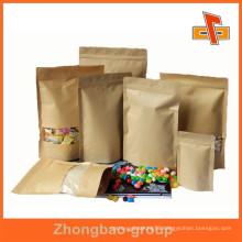 OEM moisture proof resealable custom kraft paper coffee bag with window for storage