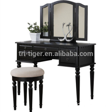 Three Mirror Vanity Set BLACK Bedroom Single Dressing Table With stool