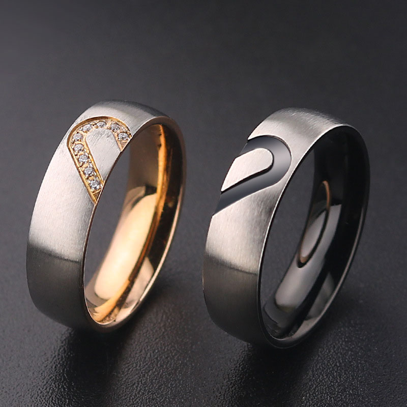Heart Shaped Wedding Rings Bridal Set