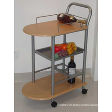 Three Layers Wooden Serving Cart Metal Frame
