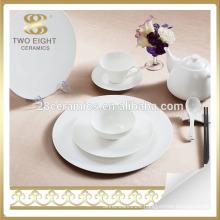 Plain white ceramic breakfast dinnerware dinner plate set bone china