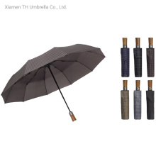 Folding Auto Open & Close with Wooden Handle Rain Umbrella