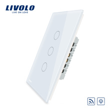 Variateur de lumière mural tactile US Livolo Interrupteur à distance 110 ~ 220V 3 voies électrique avec indicateur à LED VL-C503DR-11