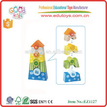 Safety Toy Child Shape Matching Stacking Wooden Colorful Blocks for Baby Over 18 Month