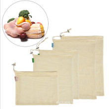 Reusable eco organic cotton fabric fruit mesh net bags with drawstring for grocery shopping fruit vegetable