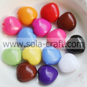 12MM Solid Mixed Color Acrylic Heart Charm Beads Pattern