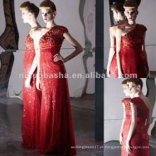 NY-2572 Calça vermelha vermelha completa com lã Vestido Longitude