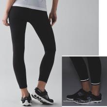 Оптовая Леди фитнес спортивные брюки сжатия плотно с светоотражающие детали и нарисовать строку