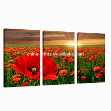 Красное искусство холста цветка / Высокое качество Sunrise Wall Art / Group Stretched Canvas Print