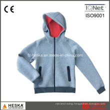 Womens Contrast Color Space Knitting Hooded Casual Jacket