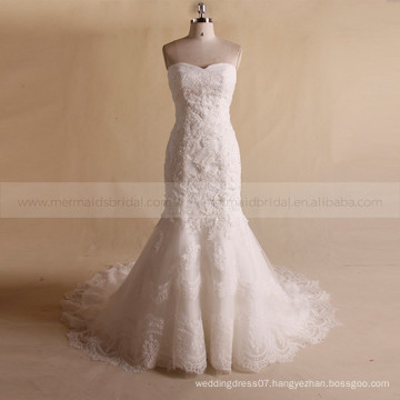 Nectarean Sweet Heart Strapless Pleated ORG See Through Lace Back Wedding Dress