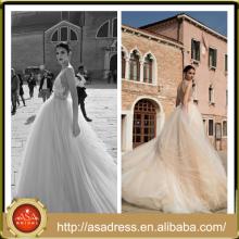 ID 1005 Beautiful Tiered Ruffle Casamento Vestido de Noiva Tulle Ball Gown Full Length mangas Appliqued Backless Wedding Dress