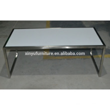 white wedding plastic coffee table with stainless steel frame XYN2706