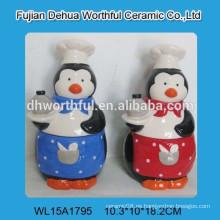 Tarro de galletas de cerámica promocional de pingüinos con precio competitivo