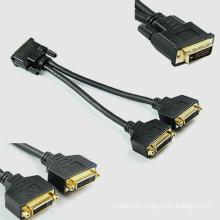 Adaptateur séparateur DVI de 24 + 1 Adaptateur différentiel femelle DVI Maleto Dual