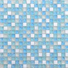 Beautiful Design Blue White Glass and Stone Mosaic Tile